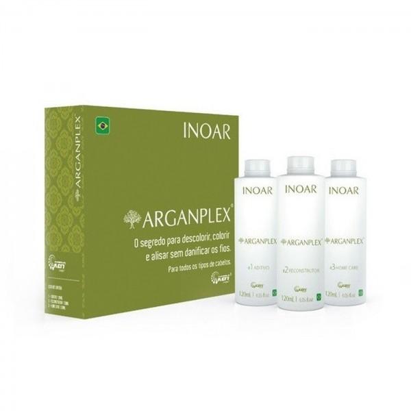 смотреть фото Набор для защиты окрашенных волос Иноар Арганплекс, 3х120 мл